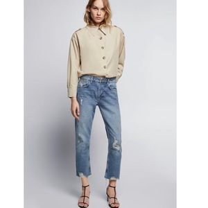 Zara Basic | Boyfriend Distressed Shark Bite Jeans